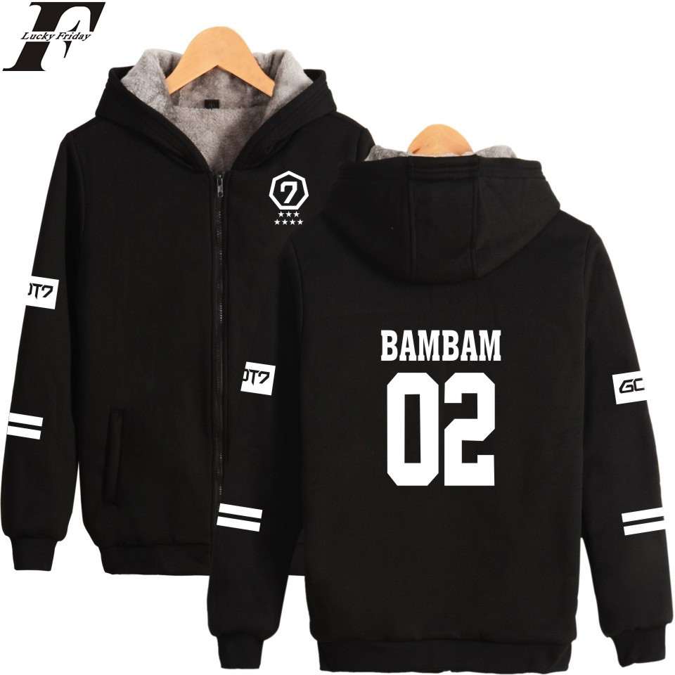 LUCKYFRIDAYF GOT7 K-pop Harajuku Hoodies Women Thicker Fluff Winter Coats JR. Hip Hop Sweatshirt Women Female Fans Zipper Clothe