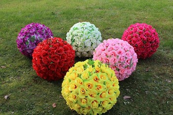 30 CM Elegant Artificial Flower Rose Silk Flowers Kissing Balls For Wedding Party Decoration Supplies 2017 New Arrival
