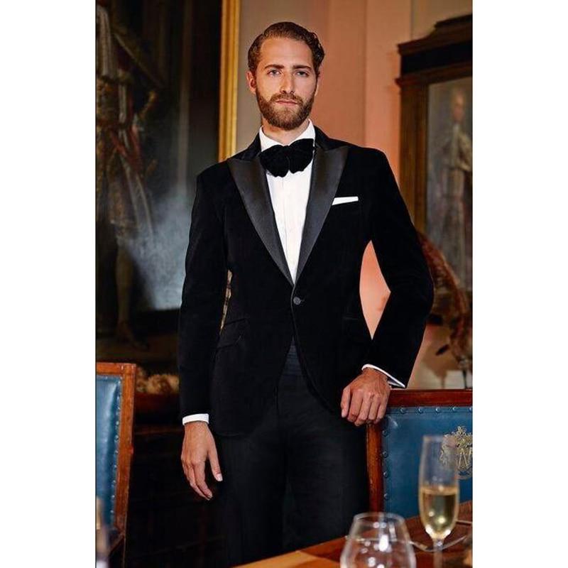 Dinner Peak Lapel Groom Tuxedos Costume Homme Mens Wedding Suit Tuxedos For Men Velvet Tuxedo Jacket Mens Suits (jacket+Pant)