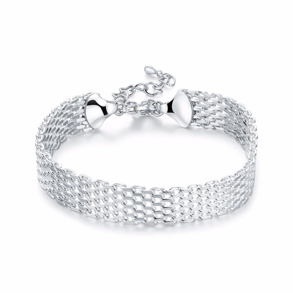 Women's Fashion Bracelet 925 Sterling Silver Soft Watchband Charm Bracelet  & Bangles Fashion Jewelry Female Gift