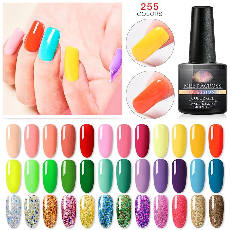 MEET ACROSS 255 Colors UV Gel Varnish Nail Polish Soak off Base Gel Top Coat Nail Gel Lacquer 8 ml Long Lasting Nail Color Gel