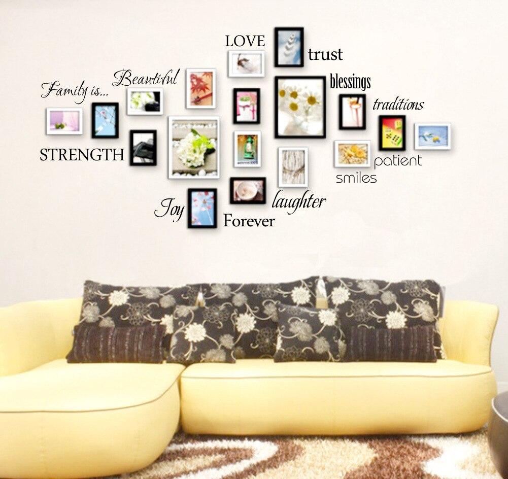Hermosos Caracteres Inglés marco de fotos pegatinas de pared 3D murales de arte la decoración del hogar Creativo Decorativo fotos