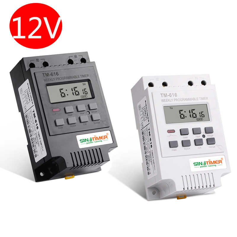 SINOTIMER 1 Second Interval DC//AC 12V Programmable Digital Timer Switch for Solar Energy