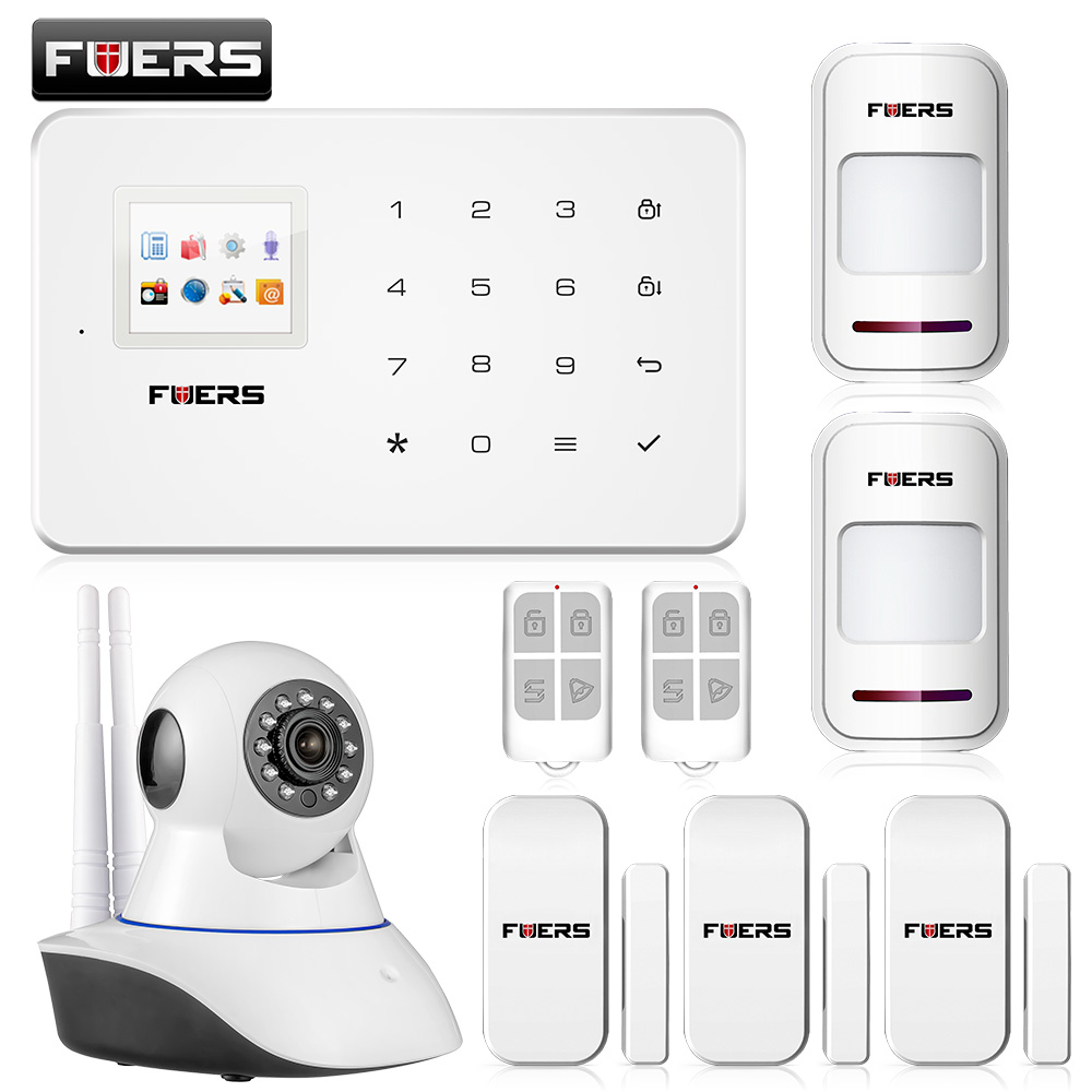Fuers Official Store New arrival wireless phone app gsm alarm system home security alarma gsm 99 wireless zone TFT color display built-in siren