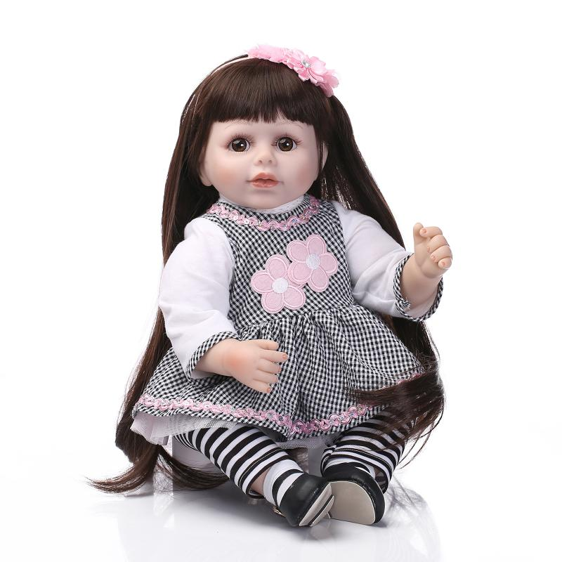 NPK Cute Long hair girl princess dolls reborn 55CM size girl doll gift play house toys bonecas baby alive 22 inches sweet girl dolls brown hair 55cm doll reborn baby lovely toys cute birthday gift for girls as american girl