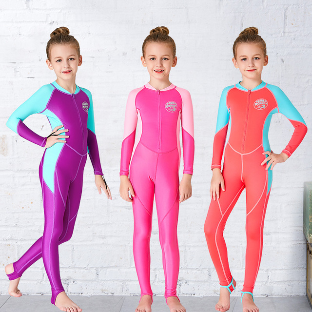 2a0bd82c14 Girls Wetsuit Kids Diving Suit One piece Long Sleeves UV protection Keep  Warm Children Swimwear Surfing