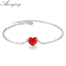 Anenjery Lucky double-sided Red Heart 925 Sterling Silver Bracelet For Women Simple Fashion Sterling-silver Jewelry S-B130(China)