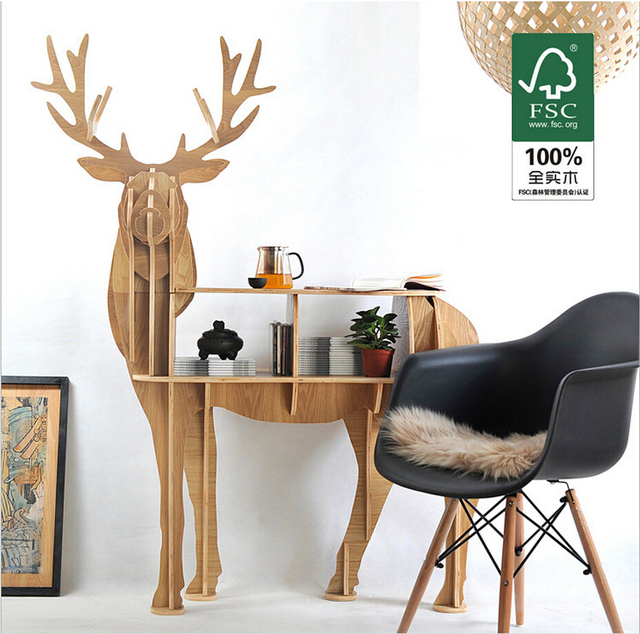 Coffee Table With Book Storage: Webetop Creative Deer Desk Coffee Table Wooden Home