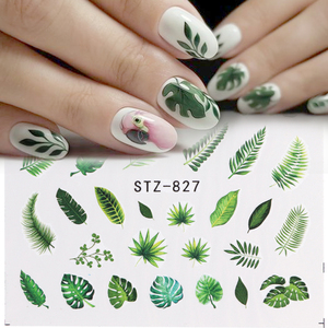 Image 4 - 1pcs Water Nail Decal and Sticker Flower Leaf Tree Green Simple Winter Slider for Manicure Nail Art Watermark Tips CHSTZ824 844