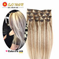 Remy Virgin Brazilian Hair Clip In Extensions Clip In Brazilian Hair Extensions Colour #P8/613 Clip In Human Hair Extensions