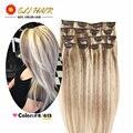 Remy Virginal Brasileño Clip En Extensiones de Cabello Clip En Extensiones de Cabello Brasileños Color # P8/613 Clip En Extensiones de cabello