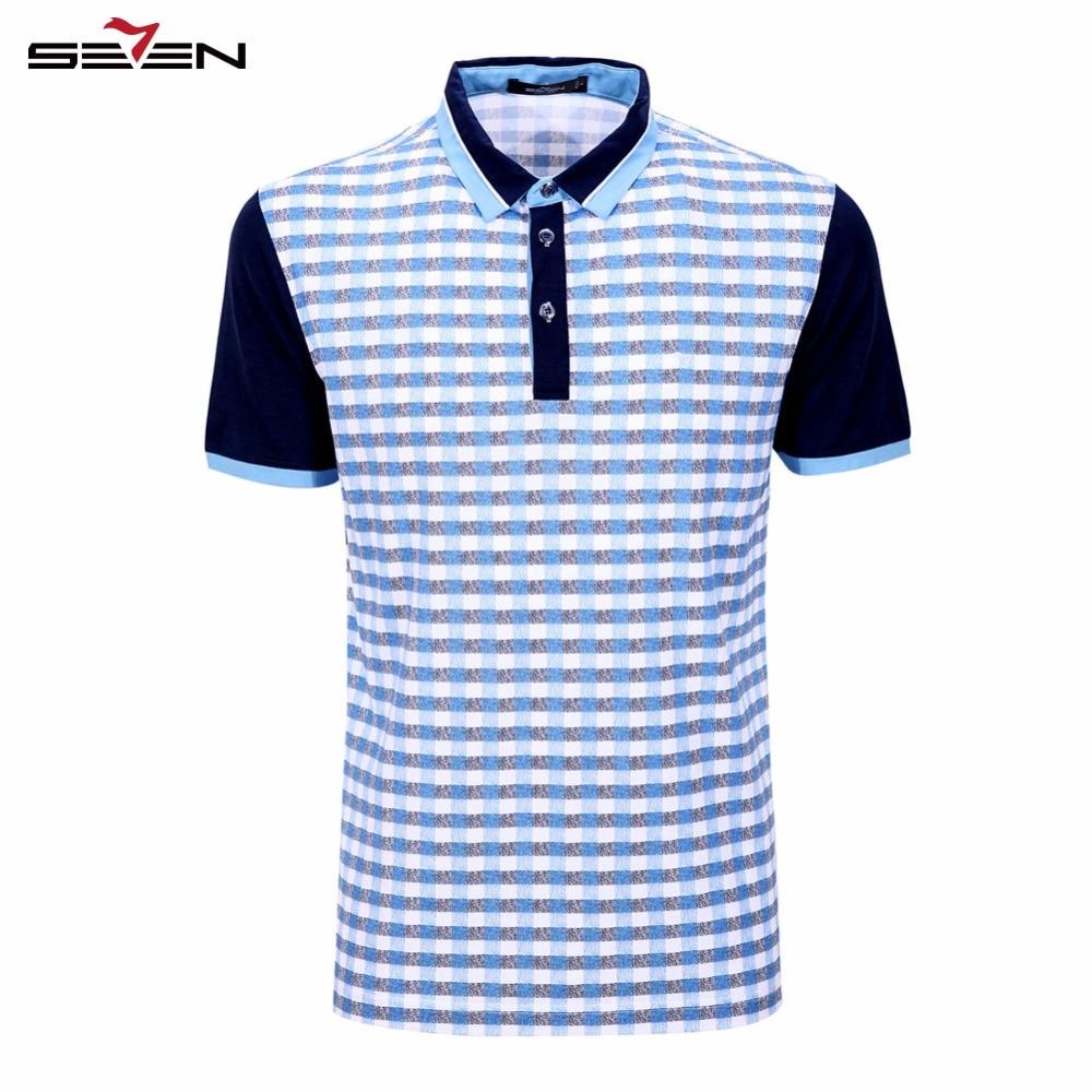 Seven7 Brand Summer Hot Sell Men Polo Shirts Plaid Pattern