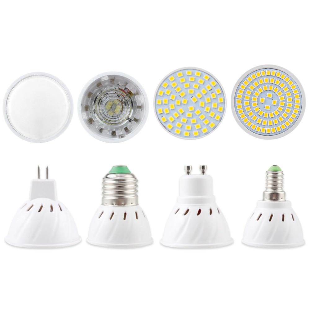Lâmpada led spotlight mr16 gu10 e27 e14 lâmpada de ponto 2835 smd lampada gu5.3 220 v 110 v 12 v 3 w cob lâmpada 9 w 12 w 15 w para decoração de casa