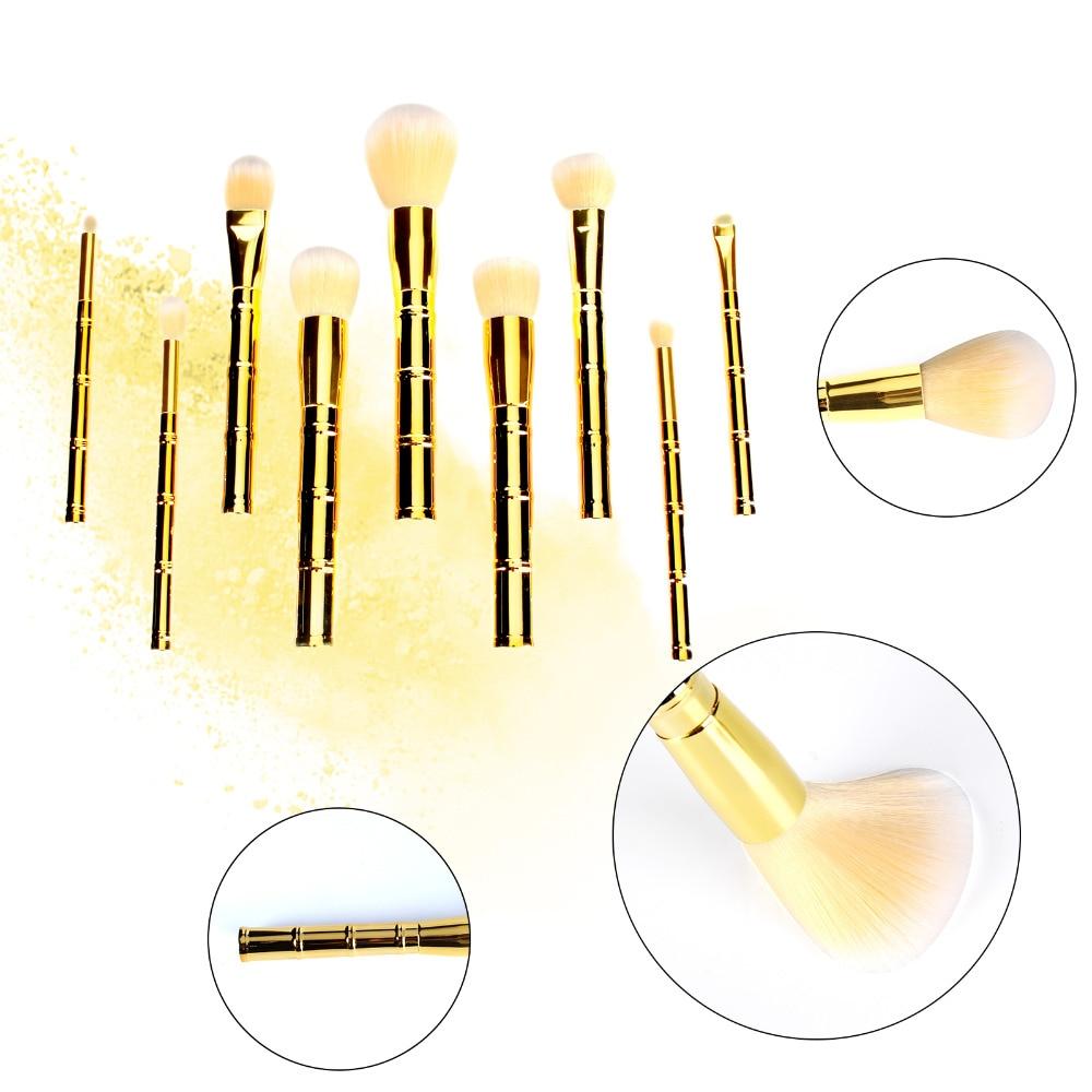 9pcs bamboo-shaped gold makeup brush Pro Makeup Brushes Set SCC Cosmetic Foundation Powder Blush pro 2 pcs gold