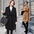 Invierno de las mujeres poncho capa abrigos mujer sobretudo feminino casaco feminino inverno 2016 manteau femme mujer de Lana escudo Mezclas