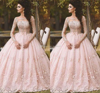 Pink Ball Gown Quinceanera Dresses 2019 Debutante Gowns Sheer Long Sleeve Prom Sweet 16 Gowns Tulle robe de bal Saudi Arabic bow