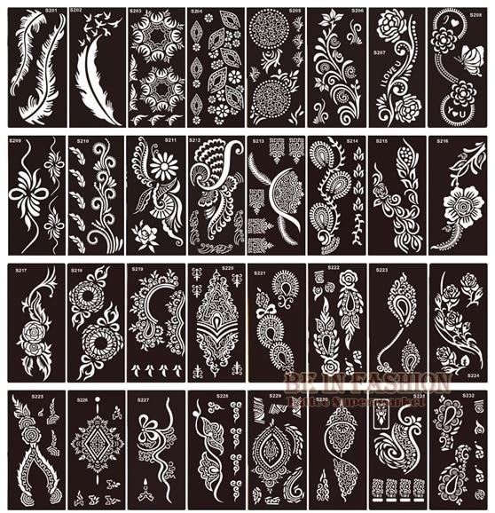 50pcs lot henna tattoo stencils for painting body art glitter tatoo stencil templates on hand feet