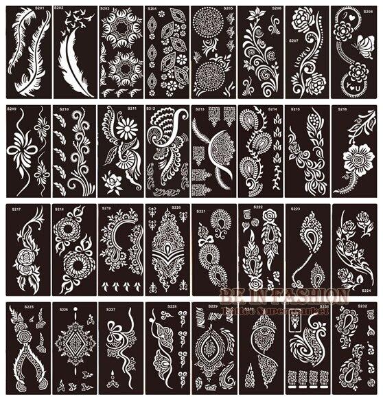 50pcs Lot Henna Tattoo Stencils For Painting Body Art Glitter Tatoo Stencil Templates On Hand Feet Indian Arabic Designs Sheets Leather Bag