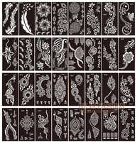 50pcs/lot henna tattoo stencils for painting body art glitter tatoo stencil templates on hand feet Indian Arabic designs sheets