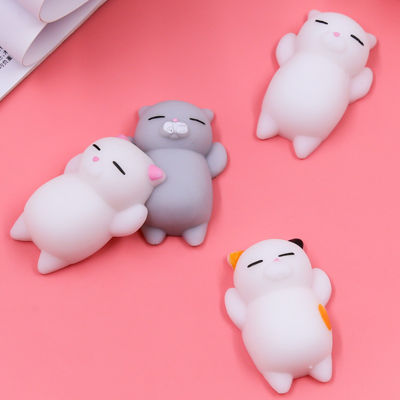 Lovely Cell Phone Straps Squishy Soft Cat Toy for Hand Squeeze Cute Mini Soft Silicone Press Rising Bag Strap For iPhone 7