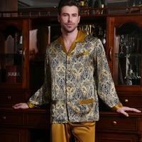 100 Pure Silk Pajamas Men Sleepwear 2018 NEW Fashion Printing Real Silk Long Sleeve Pyjama Sets