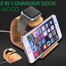 Natural Solid Wood Stand For Apple Watch All Models 2 in 1 Desktop Charging Docking Station Charger Holder For iPhone
