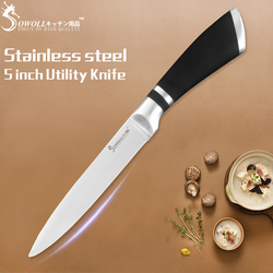 SOWOLL Knives Kitchen 5 Inch Utility Stainless Steel Knives Ultra Sharp Paring Santoku Bread Chef Slicing Kitchen Cutlery Tools