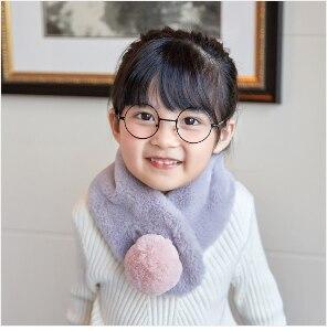 Зимний милый детский шарф, шарфы для мальчиков и девочек, детский шарф с воротником из искусственного меха кролика с помпоном, теплые шарфы