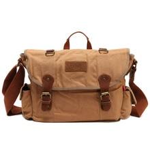Latest Luxury Vintage Men Business Canvas Single Shoulder Messenger Bag with Top Handle for School