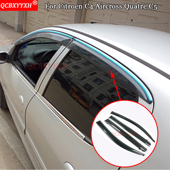 QCBXYYXH Awnings Shelters Window Visors Sun Rain Shield Stickers Covers Decoration Car-Styling For Citroen C4 Aircross Quatre C5