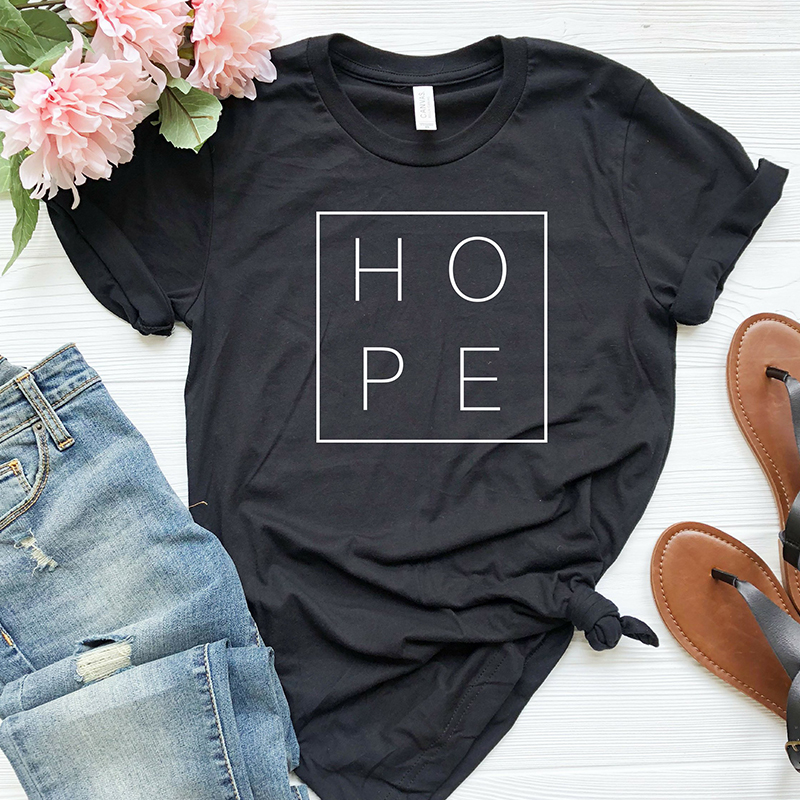 Faith Hope Love Christian T-shirt God Tee Gift Woman Short Sleeve Cotton Tops 25