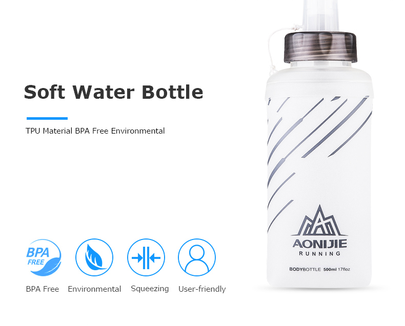 Foto of soft water bottle water's flask folding TPU for sport. Collapsible flask of water 500ml for hiking