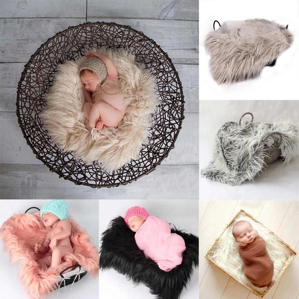 Newborn Photography Props Soft Baby Fur Blankets Faux Fur Background Blankets Cute Infant Kids Fotografia De Baby Fotografia meetcute newborn baby photography props floral crochet blankets cute bear hat knitted bear sets baby fotografia photo kits