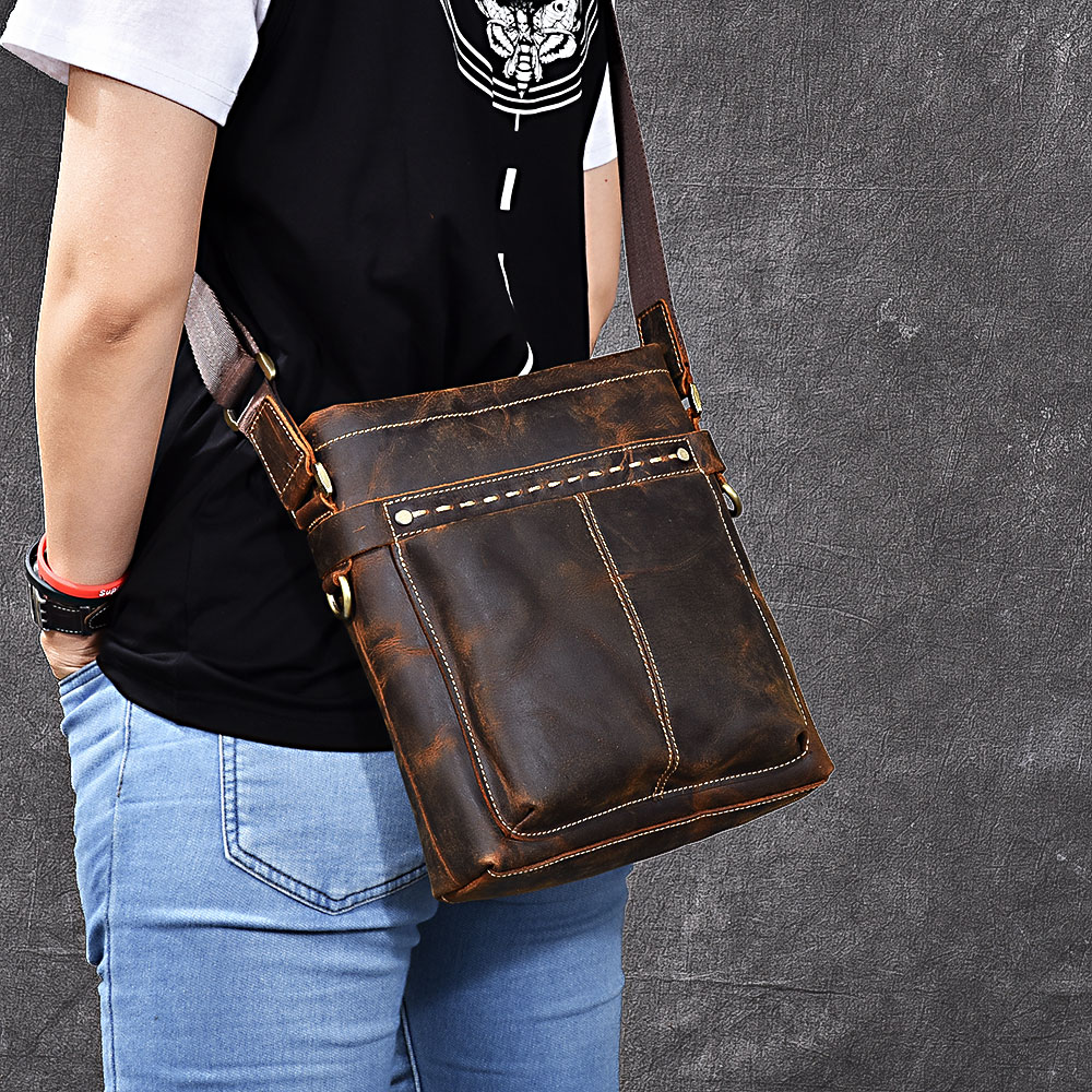 Men's Shoulder Bag Genuine Leather Handle Messenger Bag Small Vintage Handmade Crazy Horse Leather Bag Women j m d crazy horse leather women flap messenger bag casual sling bag small lady purse c005b