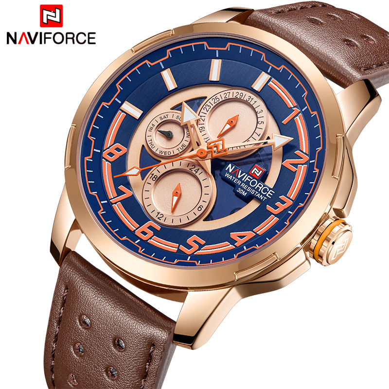 NAVIFORCE Top Brand Luxury Men Watches Fashion Military Sport Watch Mens Leather Quartz Date Week Analog Clock Relogio Masculino naviforce new luxury men led quartz watch men s fashion military sport watches male date digital analog clock relogio masculino