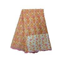 5 ярдов/партия последний Дизайн Французский кружево вышитый тюль кружево ткань с бисером, Африка ткань. Нигерийское кружево розовое красное