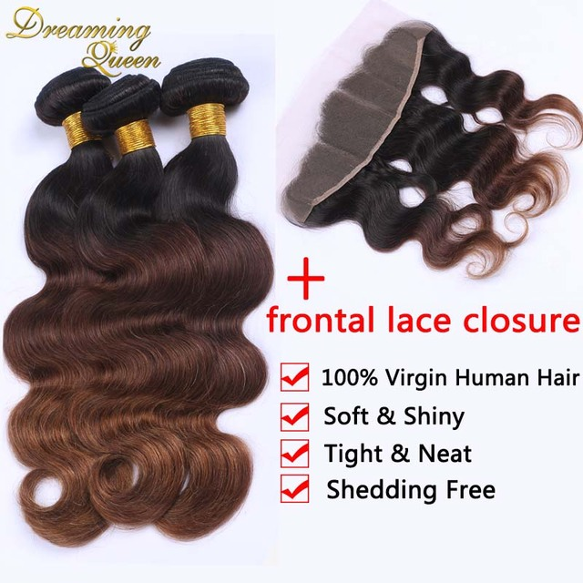 13x4 Malaysian Full Lace Closure With 3 Pcs of Weave Bundles Body Wave Three Tone Ombre Malaysian Virgin Hair Extension 1B 4 30