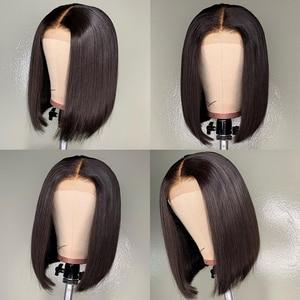 Image 2 - ポーカーフェイスボブかつらショートレースフロントかつら人毛ブラジルストレートレースの前部かつら女性髪