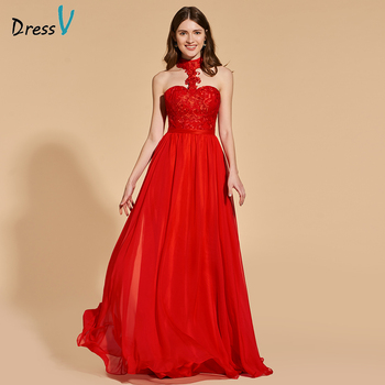 Dressv red appliques elegant long prom dress sleeveless a-line floor length backless evening party gown prom dresses customize