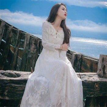 Embroidery Hook Flower Lace Sleeping Dress White Princess Long Nightdress Woman Long Sleeve Nightgown QZ8938 lace panel lantern sleeve nightdress