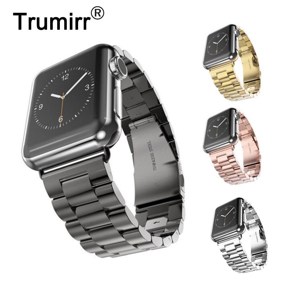 Correa de reloj de acero inoxidable para iWatch Apple Watch 38mm 40mm 42mm 44mm Series 1 2 3 4 muñequera correa de repuesto