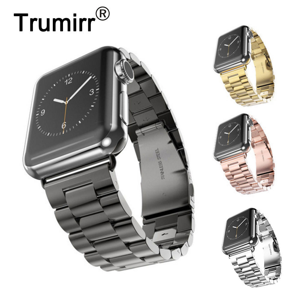 Stainless Steel Watchband for iWatch Apple Watch 38mm 40mm 42mm 44mm Series 1 2 3 4 Wrist Band Link Strap Replacement Bracelet цена