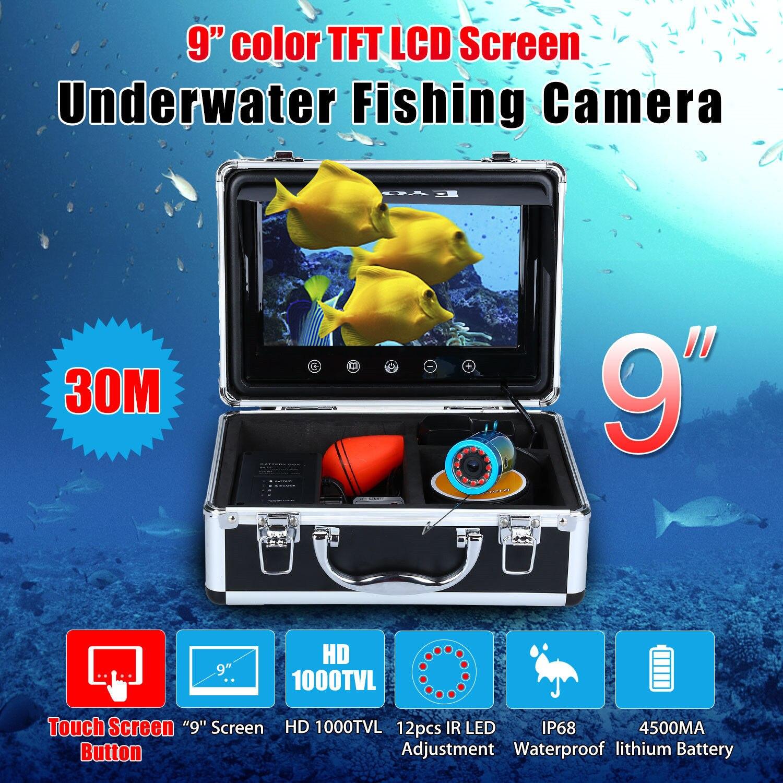 EYOYO 9 30 m pantalla táctil infrarrojo HD 1000TVL Cámara pesca submarina buscador de los pescados vídeo localizador océano Río Mar barco de pesca