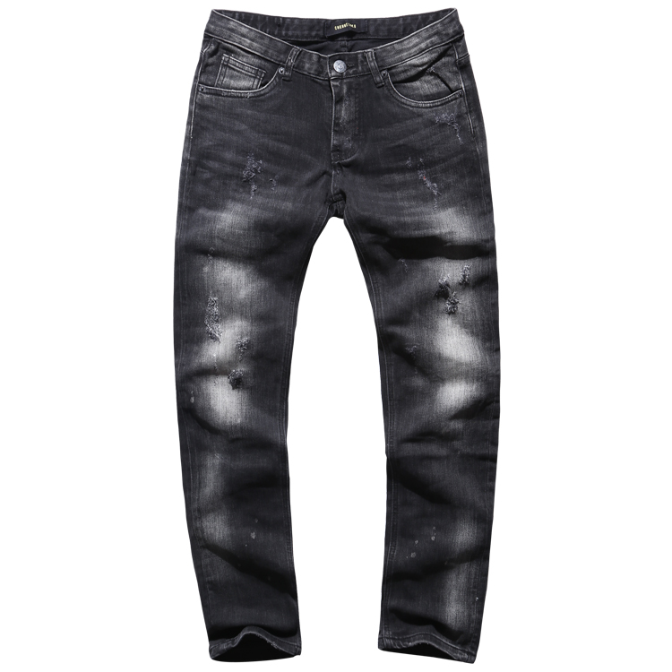 2016 New mens jeans brand slim straight washing Black Vintage ripped jeans Fashion Style Male Casual Denim trousers KZ9006 2017 fashion patch jeans men slim straight denim jeans ripped trousers new famous brand biker jeans logo mens zipper jeans 604