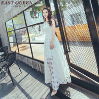 2018 new mesh summer dress long white sundress elegant women plaid maxi dress female slim round neck tank top dress KK929 HQ