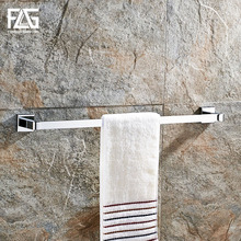 FLG Towel Bars Modern Style Square Chrome Bar Wall mounted Solid Brass Bathroom Single Rail Rack Hardware sets
