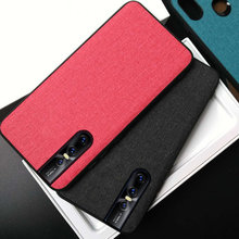 Luxury Business Fabric Cloth Leather Case For Vivo V15 Pro Soft TPU Frame Hard Back Cover Coque Gift FreeStrap