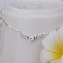 Wholesale Free Shipping silver plated Anklets,silver plated Fashion Jewelry Inlay Dot Anklets SMTA016