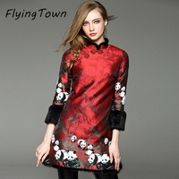 Flyingtown традиционное китайское стильное платье 2017 г. зимние плотные теплые с длинными рукавами хлопок Красное платье новый год женская одежд...