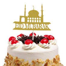 Eid Mubarak Cake Toppers Flags Glitter Kids Happy Birthday Cupcake Topper Wedding Bride Baby Shower Party Ramadan Baking DIY New